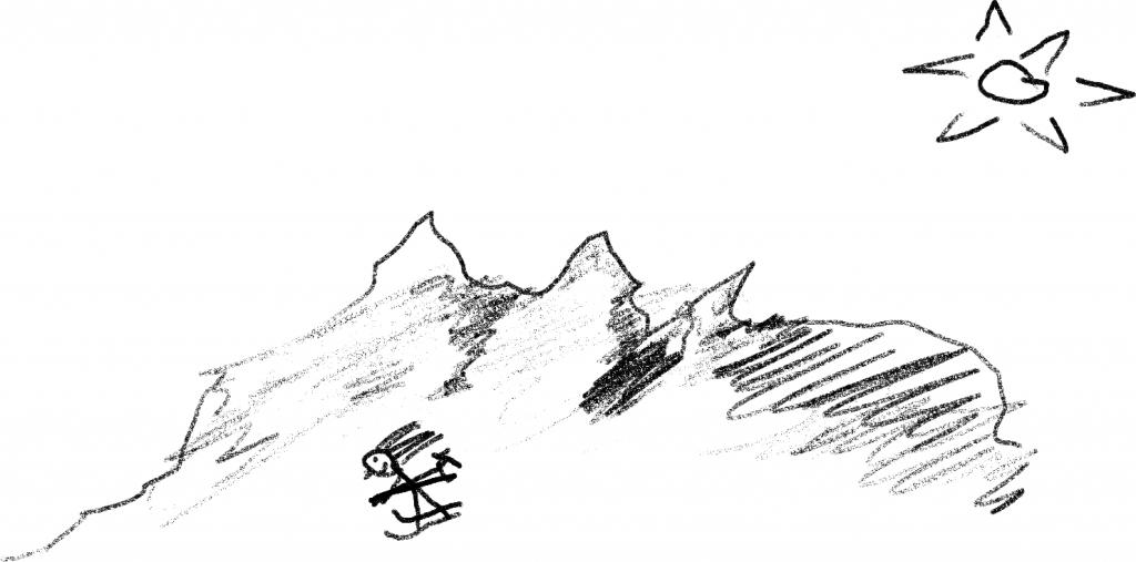 Ein detailgetreuer Skifahrer fährt bergab.